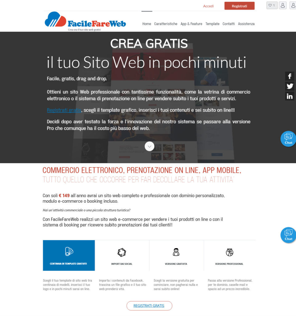 FacileFareWeb.it realizza gratis il tuo sio web